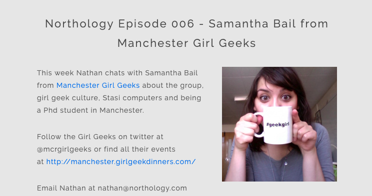 """Screenshot of the podcast page with a photo of Sam holding a cup saying """"geekgirl"""""""