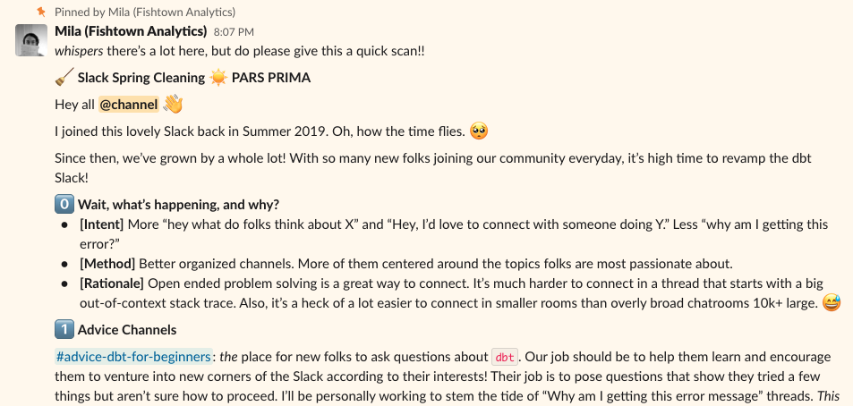 Screenshot of the dbt Slack channel stating some rules for what to post where.